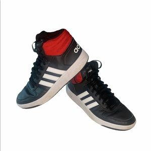 Adidas Hoops Red and black high tops size 10